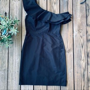 One Shoulder Ruffle Black Midi J Crew Dress 6